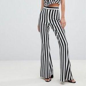 Boohoo Black and White High Rise Flare Pants